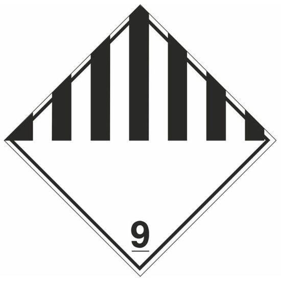 Bárca címke. Különféle veszélyes anyagok és tárgyak (azonosító: ADR 9.)